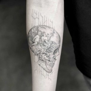 Thoughts Skull Tattoo