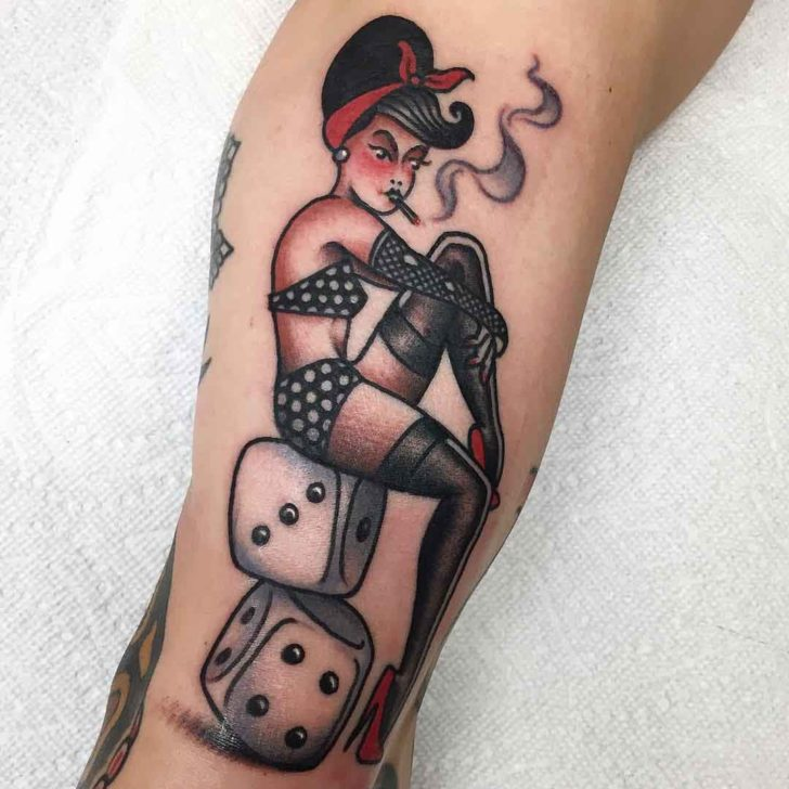 traditional tattoo pin up girl