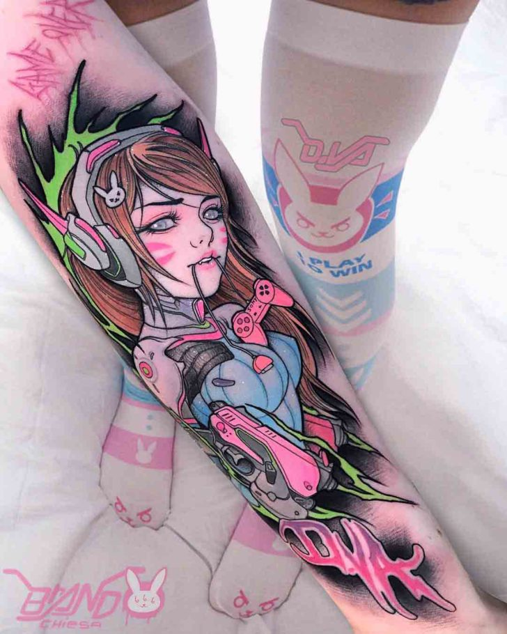 arm tattoo overwatch anime style