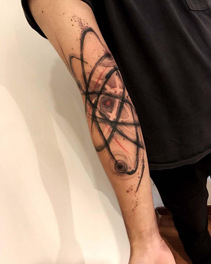 arm tattoo science atom