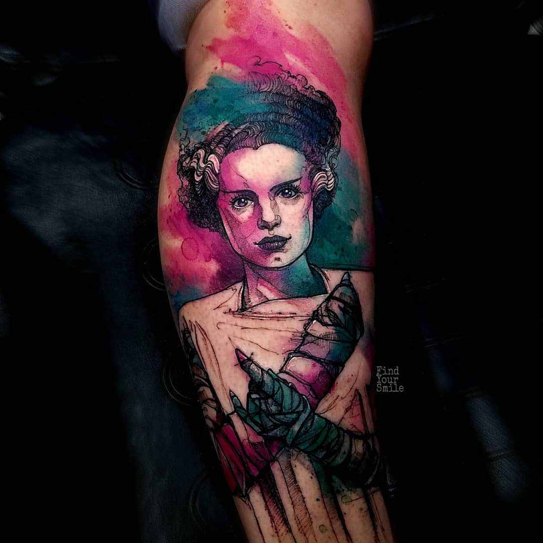 watercolor tattoo bride of Frankenstein's monster