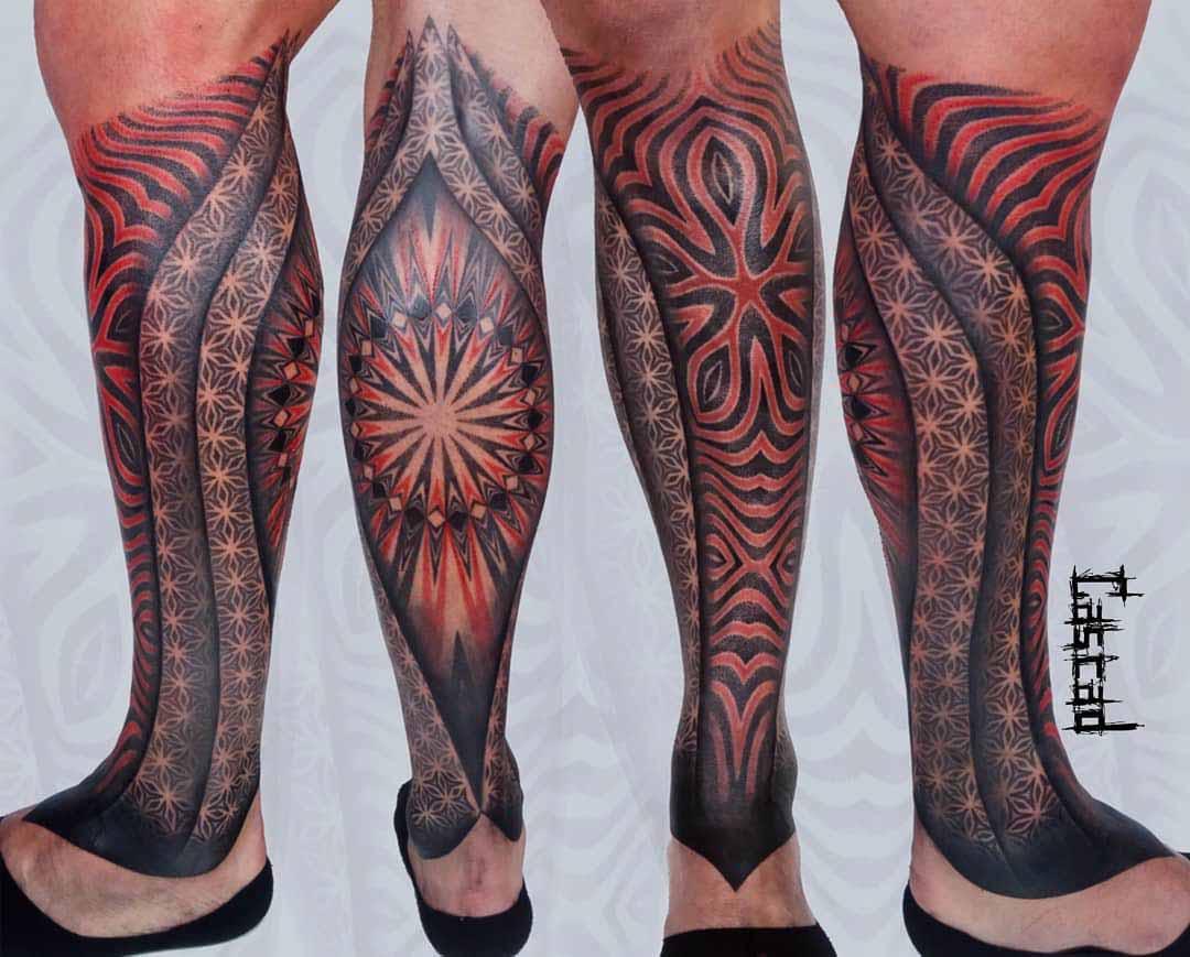 ornamental leg tattoo sleeve