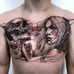 Chest Tattoo Skull and Girl