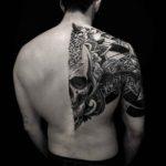 Dotwork Skull Half Back Tattoo