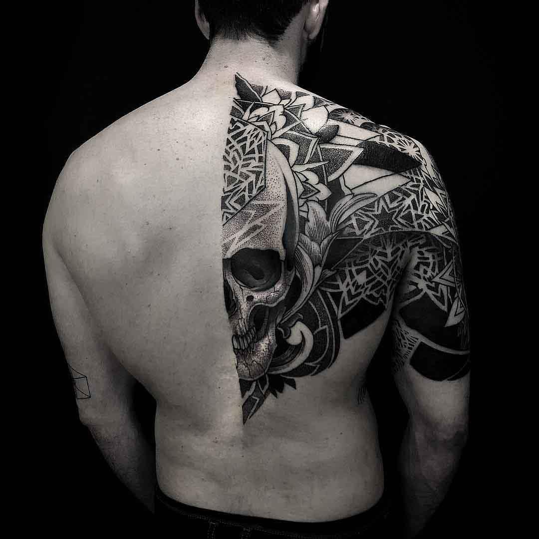 half back skull tattoo dotwork style