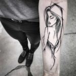 Forearm Girl Sketchy Tattoo