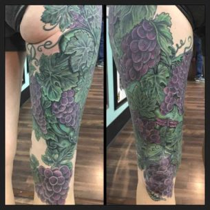 Grapes Leg Tattoo Sleeve