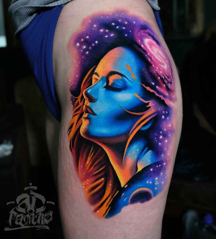 Universe tattoo on hip girl