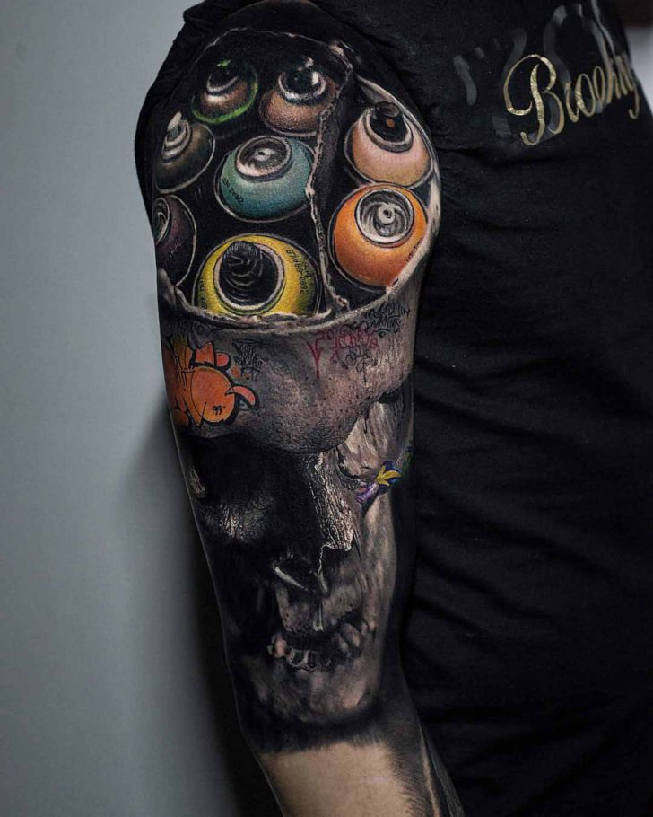 spraypaint skull tattoo
