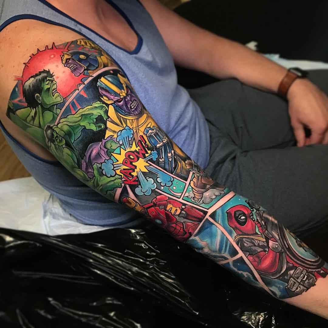tattoo sleeve marvel comic books