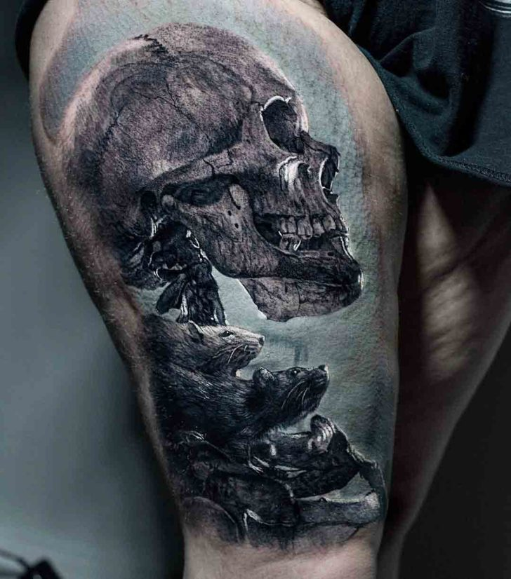 thigh tattoo skeleton realistic style