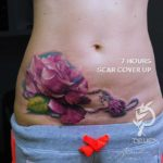 Scar Cover Up Tattoo on Belly