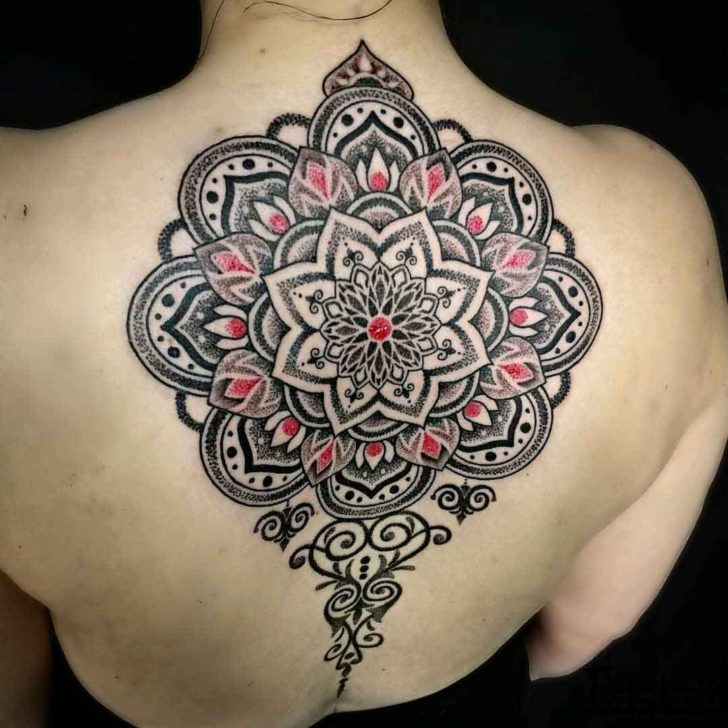 mandala tattoo on upper back black and red dotwork
