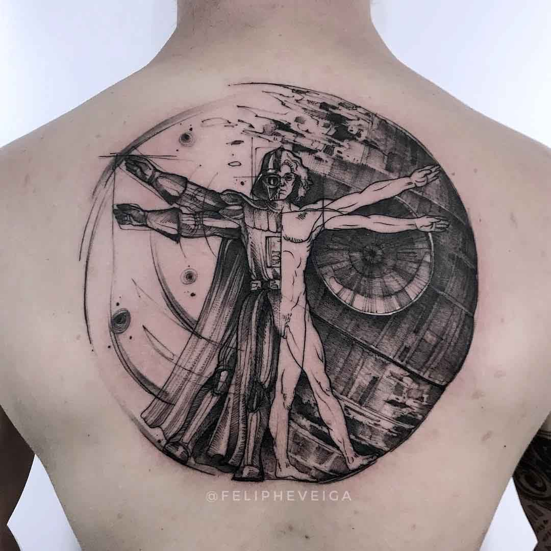 star wars art tattoo vetruvian da vinci