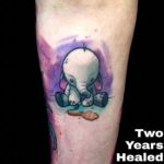 Watercolor Sad Elephant Tattoo