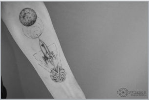 Wormhole Planet Tattoo Rocket