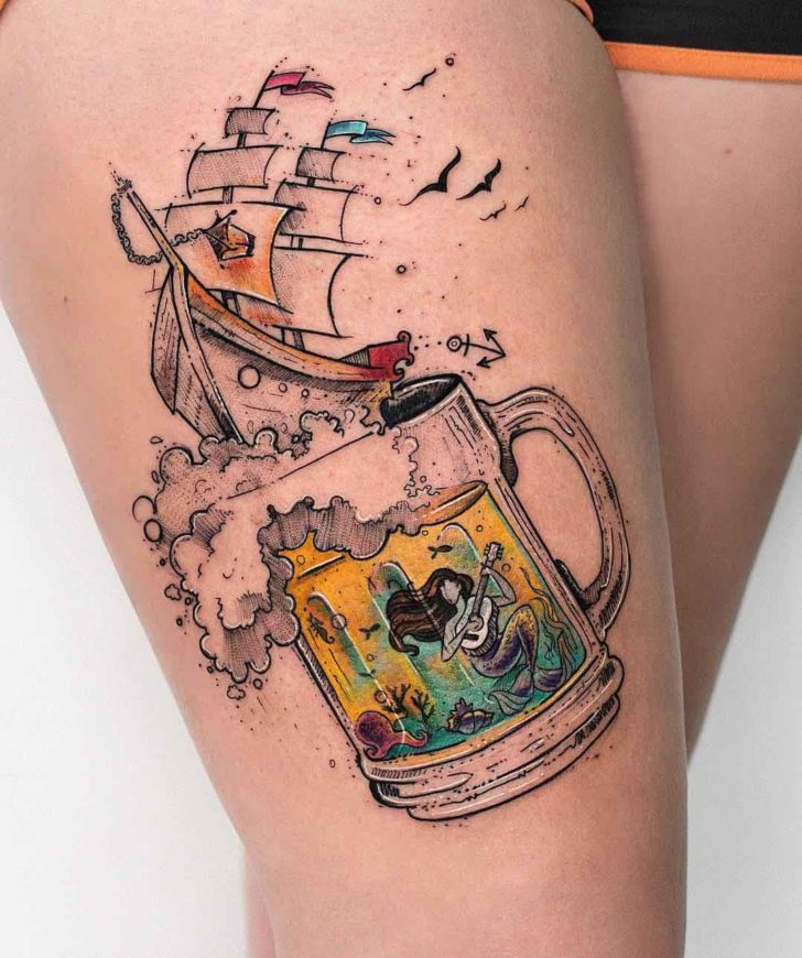 thigh tattoo beer and ship with mermaid