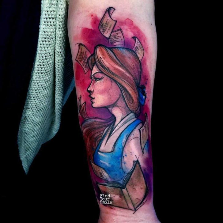 Beauty and the beast tattoo belle watercolor style