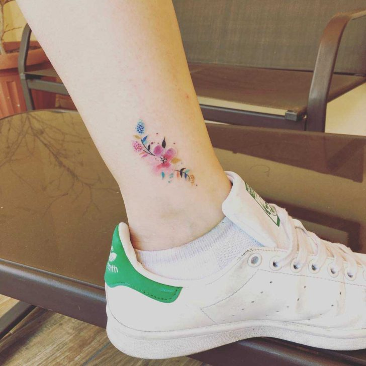 ankle tattoo flowers