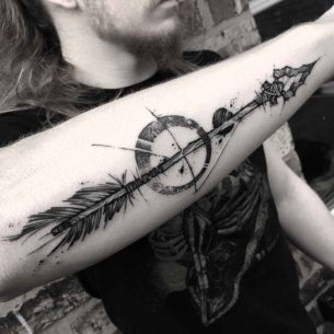 Stone Arrow Tattoo on Forearm