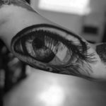 Big Grey Eye Tattoo on Bicep