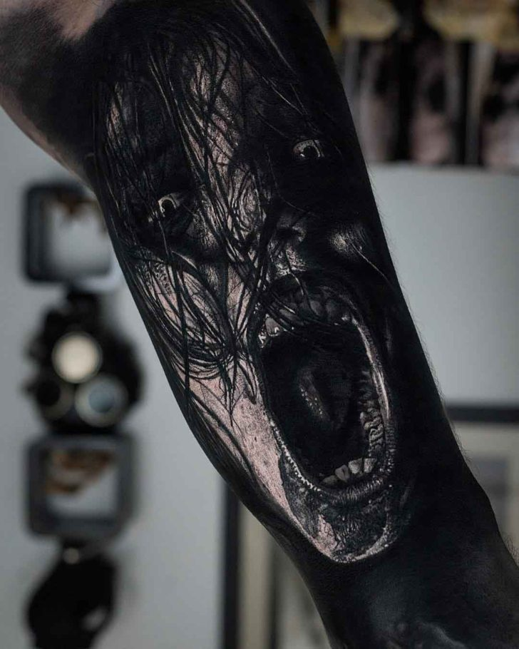 horror tattoo evil spirit