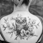Flowers Owl Tattoo on Upper Back