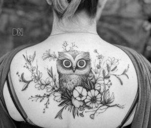 Flowers Owl Tattoo on Upper Back