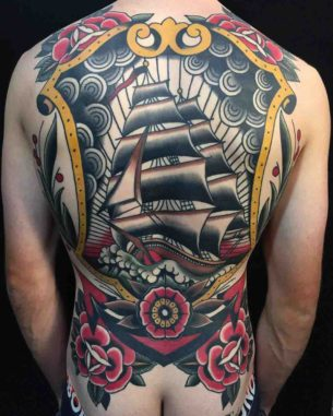 Full Back Nautical Tattoo Ship