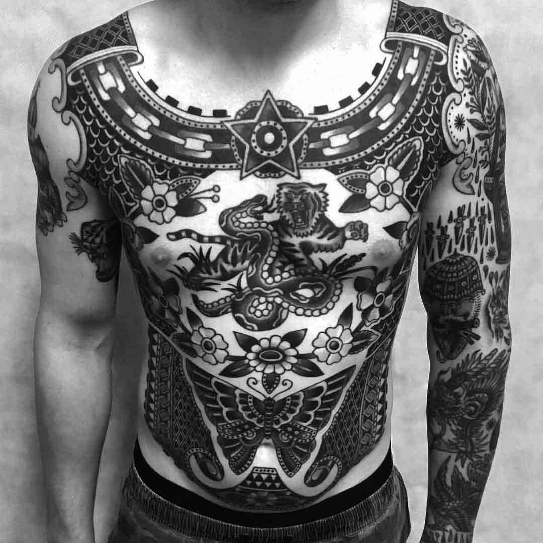 old school tattoo full body