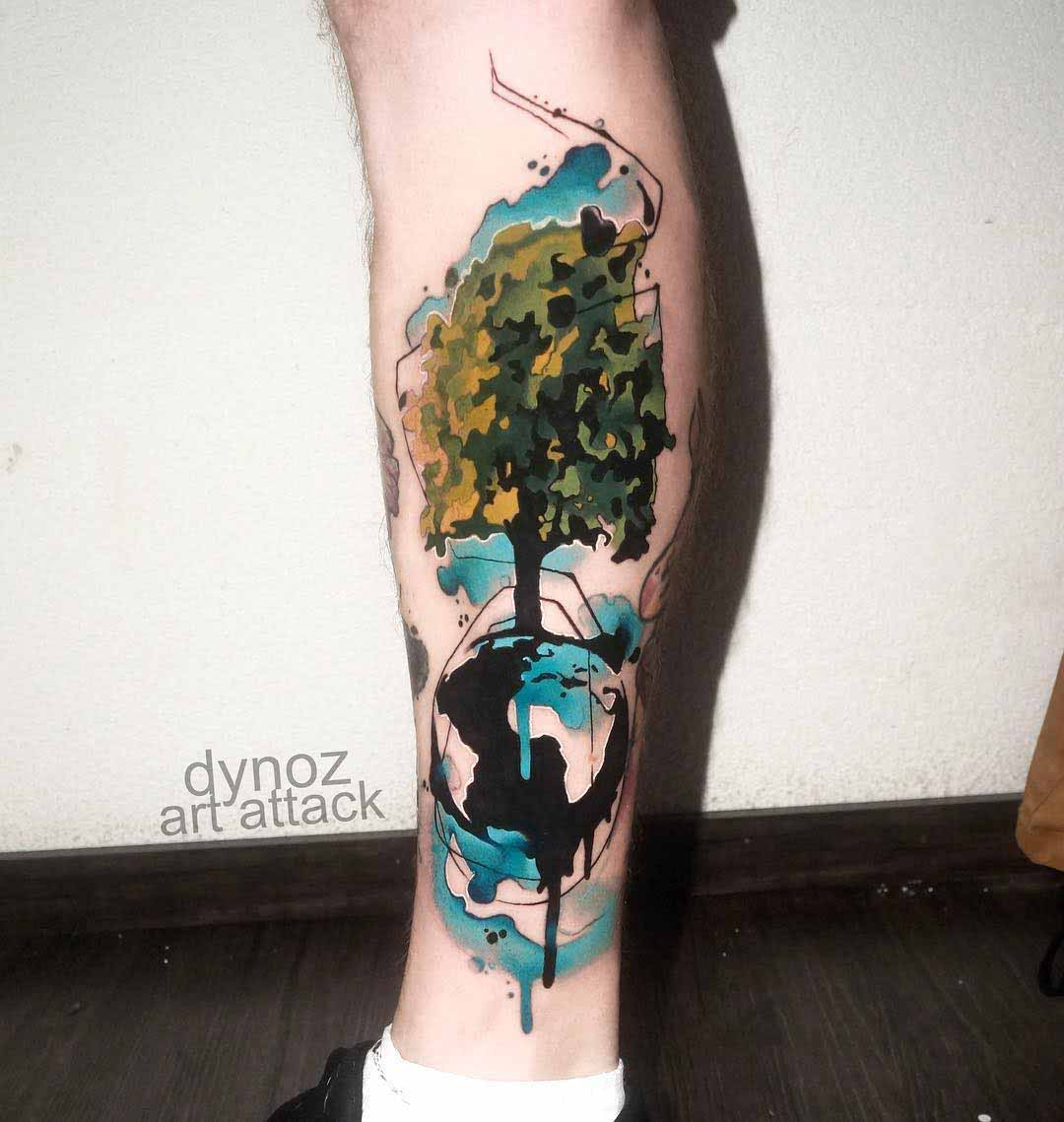 calf tattoo tree watercolor