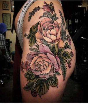 Hip Tattoo Roses