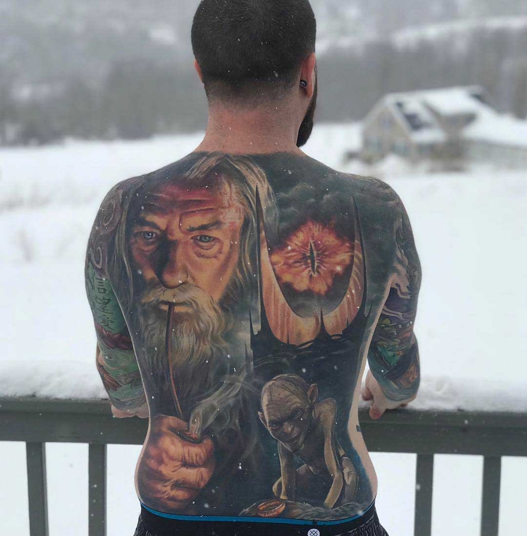 full back tattoo Gendalf lord of the rings