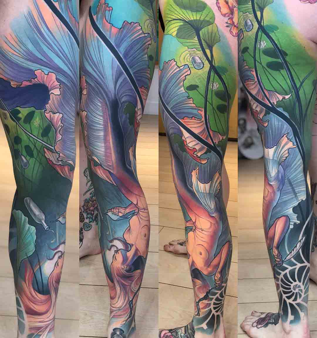 full leg tattoo sleeve mermaid