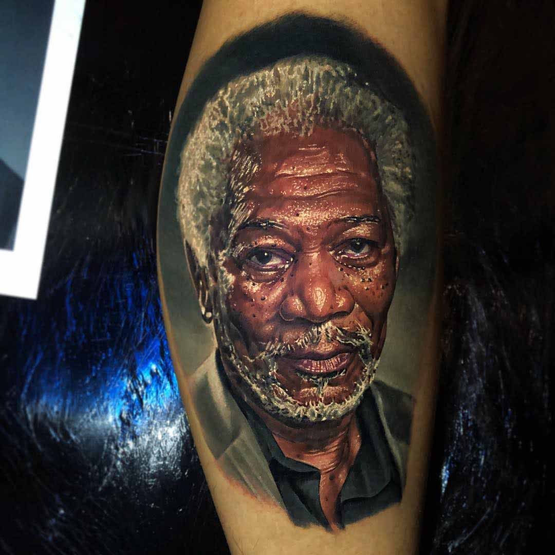 realistic portrait tattoo Morgan Freeman