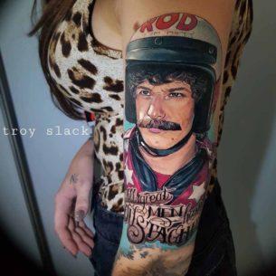 Moustache Racer Man Tattoo