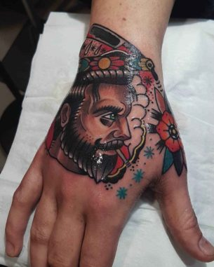Neo-Traditional Barber Tattoo on Hand