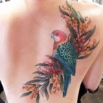 Parrot on Flowers Tattoo on Back