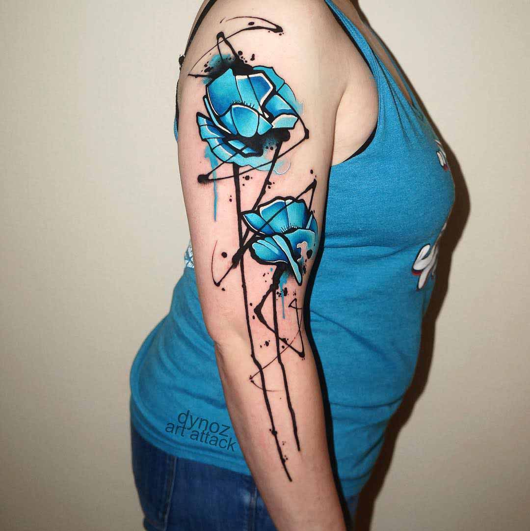 blue flowers tattoo