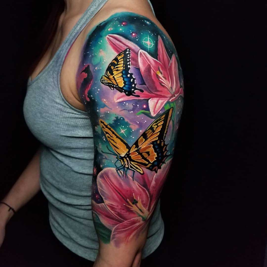shoulder tattoo butterfly universe and space