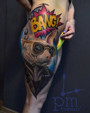 Sphynx Cat Tattoo Bang