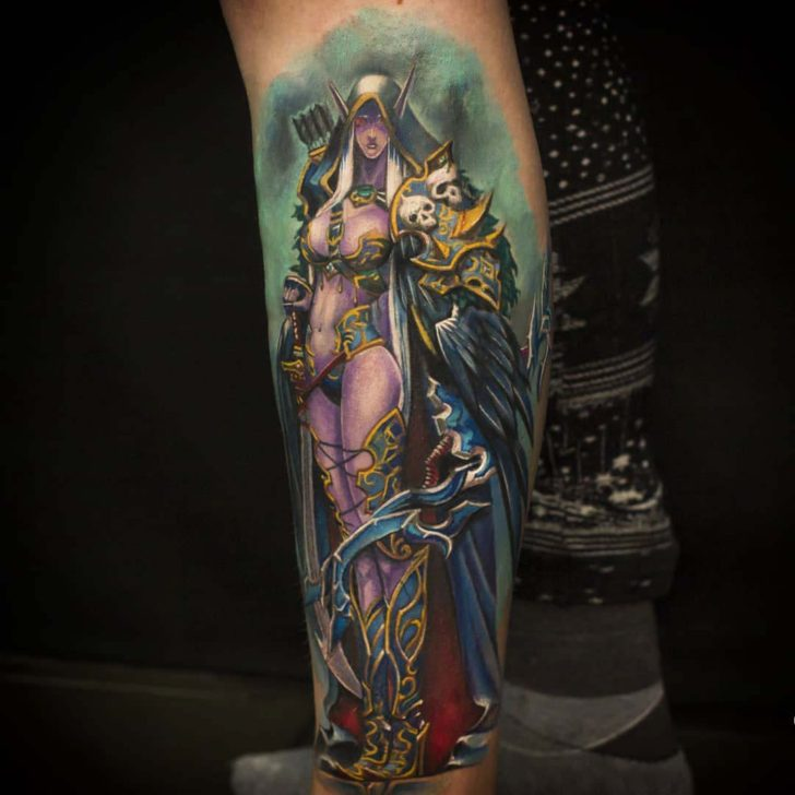 leg tattoo sylvanas world of warcraft
