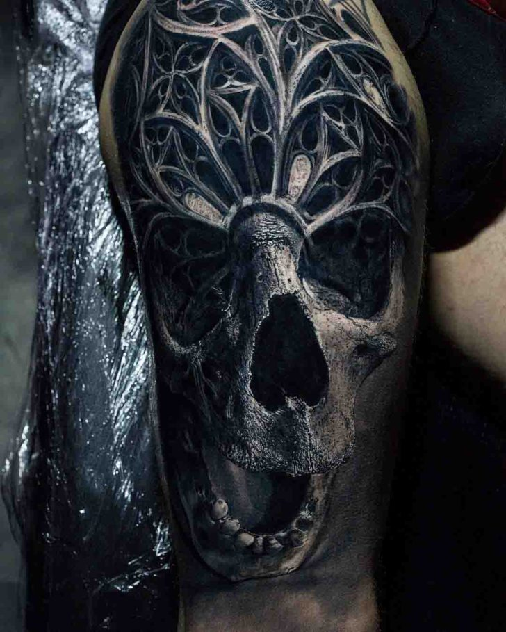 skull tattoo black and grey