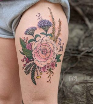 Thigh Flowers Tattoo