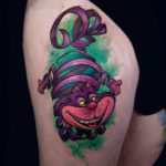 Thigh Tattoo Cheshire Cat