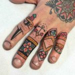 Traditional Tattoos on Fingers