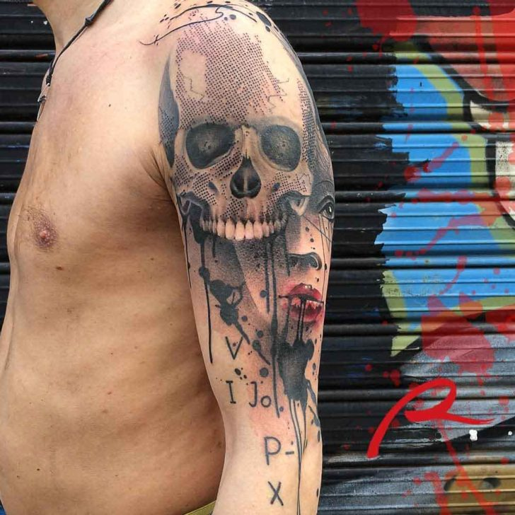 shoulder tattoo skull trash polka