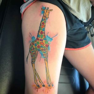 Watercolor Giraffe Tattoo on Thigh