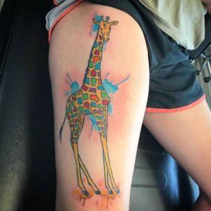 Watercolor Giraffe Tattoo on Thigh