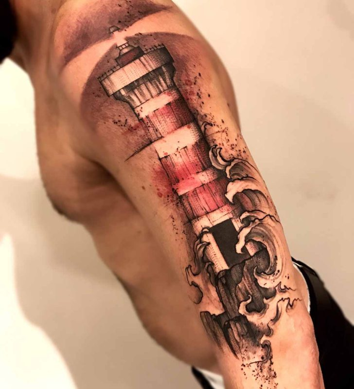 shoulder lighthouse tattoo nautical watercolor stylle